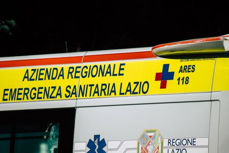 Rome Italy September 29, 2019 View of a Italian ambulance parked in the streets of Rome in the morning