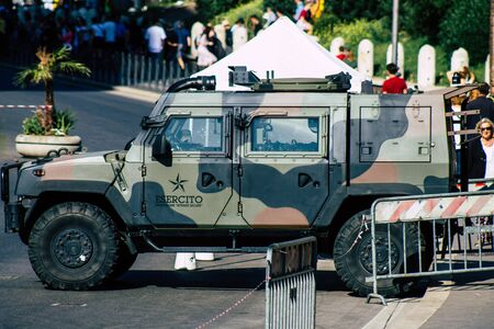 Rome Italy September 29, 2019 View of a Italian military car on protection mission parked front the Coliseum of Rome in the morning