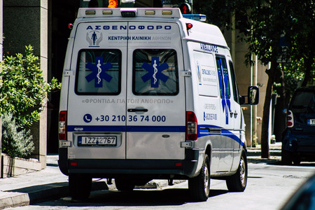 Athens Greece August 30, 2019 View of a Greek ambulance parked in the streets of Athens in the morning