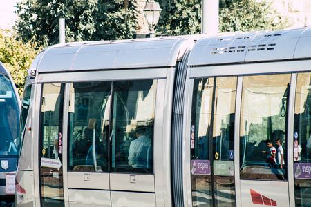 Jerusalem Israel October 06, 2019 View of the tram of Jerusalem rolling in Jaffa street in the afternoon