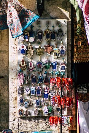 Jerusalem Israel October 06, 2019 Closeup of decorative objects sold in a souvenirs shop at the bazaar of the Old city of Jerusalem in the morning