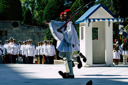 Athens Greece September 1, 2019 View of the Greek soldiers participating in the military ceremony on the tomb of the Unknown Soldier in Athens in the morning