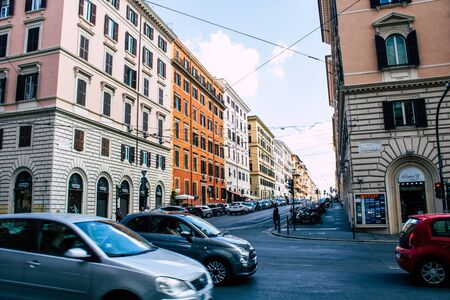 Rome Italy October 18, 2019 View of historical building in the streets of Rome in the afternoon