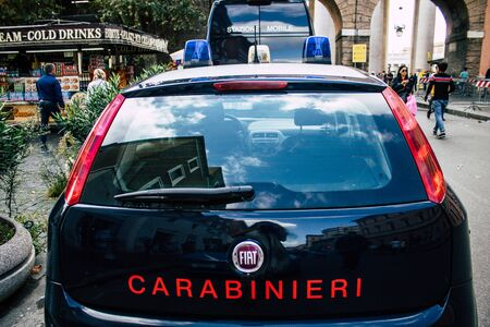 Rome Italy October 18, 2019 View of an Italian police car parked in the streets of Rome in the evening