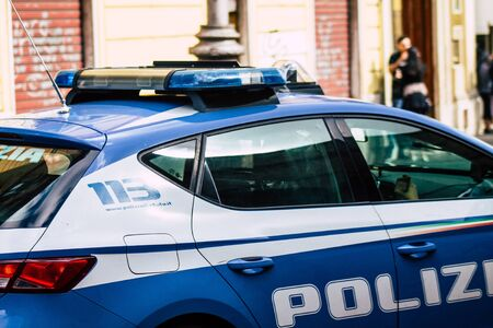 Rome Italy October 18, 2019 View of an Italian police car rolling in the streets of Rome in the evening