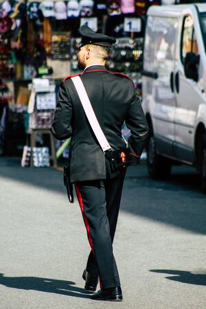 Rome Italy October 18, 2019 View of Italian police officer walking in the streets of Rome in the morning