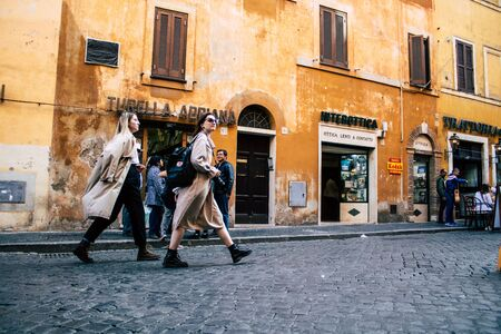 Rome Italy October 18, 2019 View of unknowns people walking in the streets of Rome near Vatican city in the afternoon