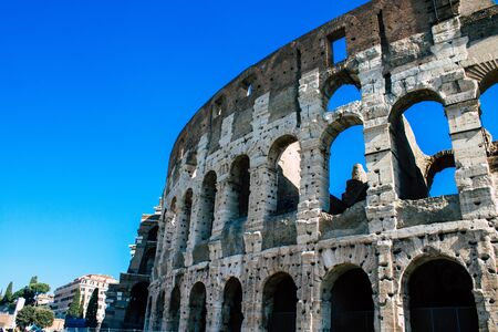 Rome Italy October 18, 2019 View of the Coliseum also known as the Flavian Amphitheatre, is an oval amphitheatre in the centre of the city of Rome