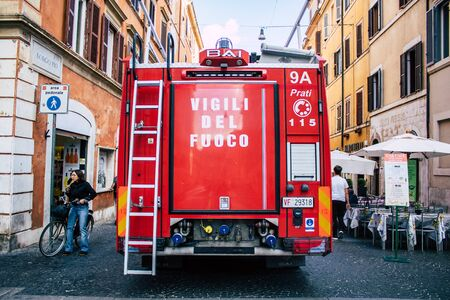 Rome Italy October 18, 2019 View of a Italian fire engine parked in the streets of Rome in the morning