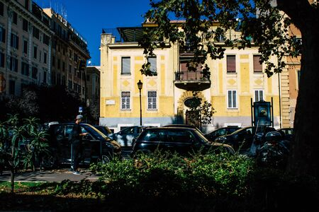 Rome Italy October 20, 2019 View of historical building in the streets of Rome in the afternoon