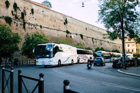 Rome Italy October 20, 2019 View of a bus rolling through the streets of Rome in the afternoon