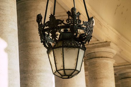 Vatican City, Italy October 18, 2019 View of a lamp at St Peters Square in Vatican City in the afternoon Publikacyjne