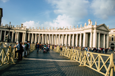 Vatican City Italy October 18, 2019 View of unknown people visiting St Peters Square at Vatican City in the afternoon