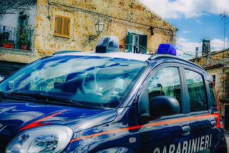 Rome Italy September 25, 2019 View of a Carabinieri police car parked in the streets of Rome in the morning Archivio Fotografico