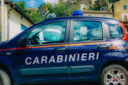 Rome Italy September 25, 2019 View of a Carabinieri police car parked in the streets of Rome in the morning Zdjęcie Seryjne