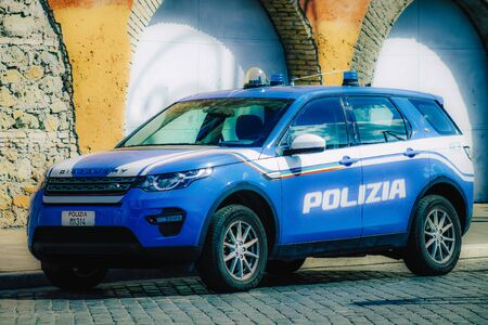 Rome Italy September 29, 2019 View of a National police car parked in the streets of Rome in the morning Stock Photo