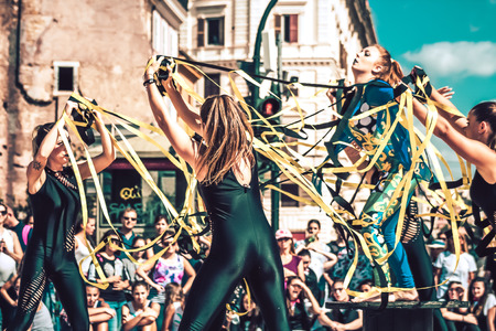 Rome Italy September 29, 2019 Celebrations of the 150th anniversary of the Italian gymnastics federation, public demonstration of young gymnasts in the streets of Rome near the Coliseum Editorial