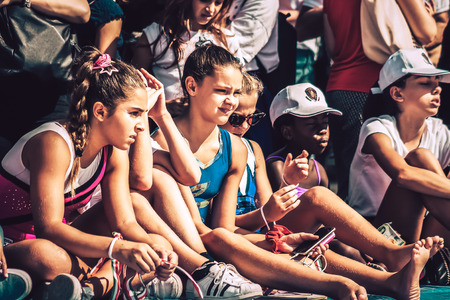 Rome Italy September 29, 2019 Celebrations of the 150th anniversary of the Italian gymnastics federation, public demonstration of young gymnasts in the streets of Rome near the Coliseum Imagens - 133367426
