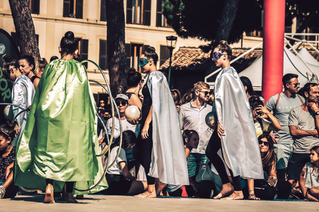 Rome Italy September 29, 2019 Celebrations of the 150th anniversary of the Italian gymnastics federation, public demonstration of young gymnasts in the streets of Rome near the Coliseum Imagens - 133367430