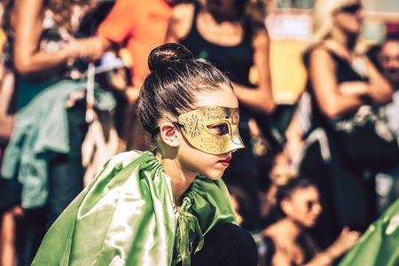 Rome Italy September 29, 2019 Celebrations of the 150th anniversary of the Italian gymnastics federation, public demonstration of young gymnasts in the streets of Rome near the Coliseum Imagens - 133367437
