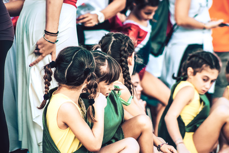 Rome Italy September 29, 2019 Celebrations of the 150th anniversary of the Italian gymnastics federation, public demonstration of young gymnasts in the streets of Rome near the Coliseum Imagens - 133367453