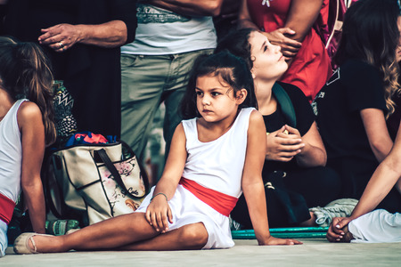 Rome Italy September 29, 2019 Celebrations of the 150th anniversary of the Italian gymnastics federation, public demonstration of young gymnasts in the streets of Rome near the Coliseum Imagens - 133367456