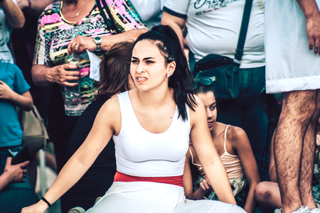 Rome Italy September 29, 2019 Celebrations of the 150th anniversary of the Italian gymnastics federation, public demonstration of young gymnasts in the streets of Rome near the Coliseum Imagens - 133367461