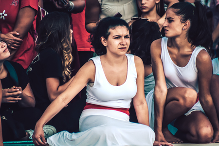 Rome Italy September 29, 2019 Celebrations of the 150th anniversary of the Italian gymnastics federation, public demonstration of young gymnasts in the streets of Rome near the Coliseum Imagens - 133367472