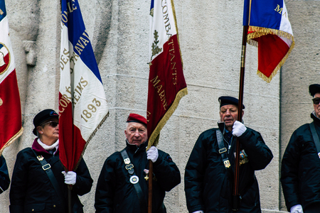 Reims France November 11, 2019 View of Veterans participating in the Armistice Commemoration Ceremony in the morning in Reims
