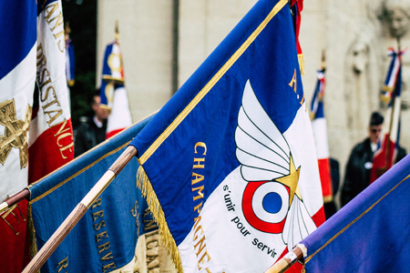 Reims France November 11, 2019 View of the French flags at the Armistice commemoration ceremony in the morning in Reims