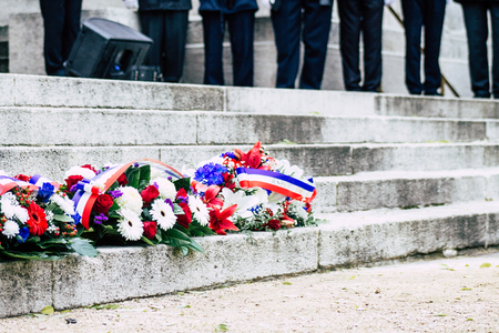 Reims France November 11, 2019 View of wreath of flowers at the Armistice commemoration ceremony in the morning in Reims
