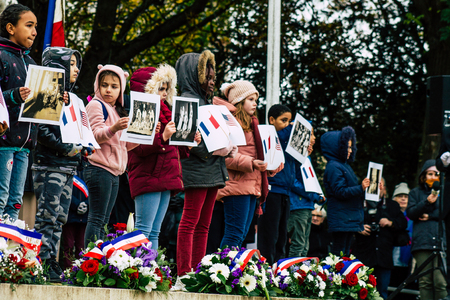 Reims France November 11, 2019 View of unknowns children participating in the commemoration ceremony of the Armistice in the morning in Reims