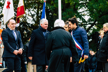 Reims France 11 November 2019 View of the official representatives of the Republic participating in the ceremony of commemoration of the armistice in the morning in Reims