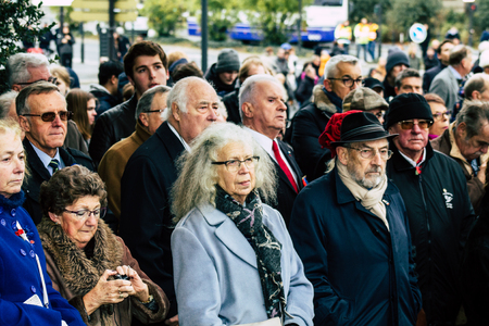 Reims France November 11, 2019 View of unknown people participating in the commemoration ceremony of the Armistice in the morning in Reims Editöryel