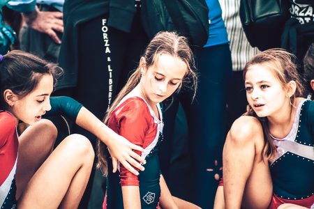 Rome Italy September 29, 2019 Celebrations of the 150th anniversary of the Italian gymnastics federation, public demonstration of young gymnasts in the streets of Rome near the Coliseum Editöryel