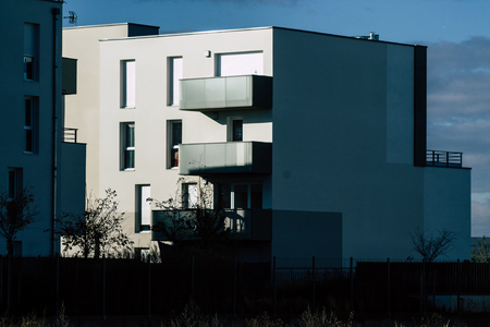 Reims France November 19, 2019 View of a modern building located in Reims in the afternoon