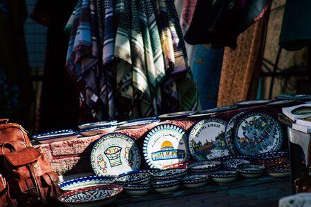 Palestinian Territory Bethlehem December 16, 2019 Closeup of decorative objects sold in a shop in Bethlehem Zdjęcie Seryjne