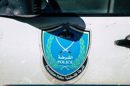 Palestinian Territory Bethlehem December 16, 2019 Closeup of a Palestinian police car parked in the street of Bethlehem in the afternoon