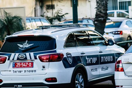 Tel Aviv Israel December 20, 2019 View of a Israeli police car rolling in the streets of Tel Aviv in the afternoon