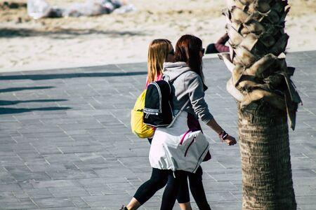 Tel Aviv Israel December 31, 2019 View of unidentified people walking on Herbert Samuel Promenade in Tel Aviv in the afternoon