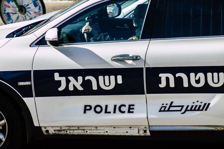 Tel Aviv January 01, 2020 View of a Israeli police car in the streets of Tel Aviv in the afternoon