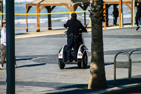 Tel Aviv January 01, 2020 View of a Israeli police motorcycle in the streets of Tel Aviv in the afternoon