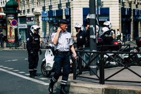 Paris France May 25, 2019 View of the French National Police in intervention during protests of the Yellow Jackets against the policy of President Macron on saturday afternoon Sajtókép