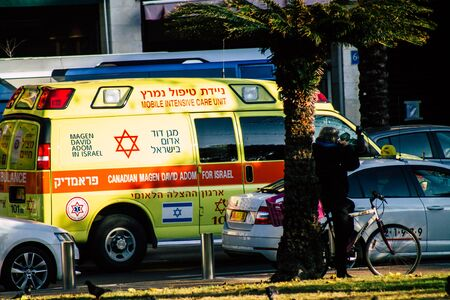 Tel Aviv Israel January 20, 2020 View of a Israeli ambulance rolling in the streets of Tel Aviv in the afternoon 写真素材