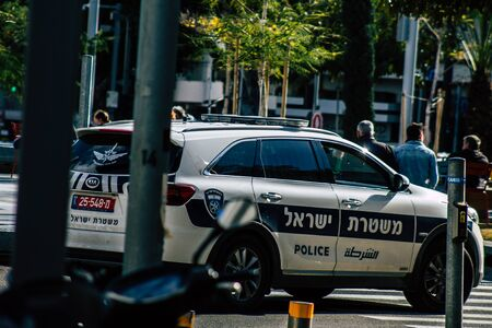 Tel Aviv Israel January 23, 2020 View of a Israeli police car rolling in the streets of Tel Aviv in the afternoon