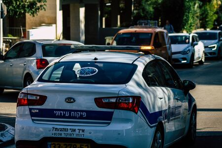 Tel Aviv Israel January 23, 2020 View of a local Israeli police car rolling in the streets of Tel Aviv in the afternoon Stok Fotoğraf