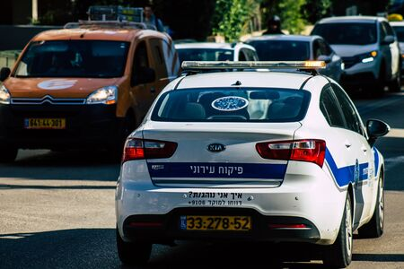 Tel Aviv Israel January 23, 2020 View of a local Israeli police car rolling in the streets of Tel Aviv in the afternoon Фото со стока