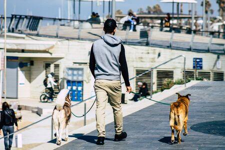Tel Aviv Israel February 12, 2020 View of unidentified people walking on Herbert Samuel Promenade in Tel Aviv during a sunny day in winter Stock fotó