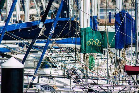 Tel Aviv Israel February 12, 2020 View of boats moored in Tel Aviv marina in winter Stock fotó