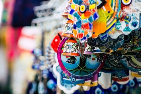 Tel Aviv Israel February 20, 2020 Closeup of decorative objects sold in a souvenirs shop in the streets of Tel Aviv